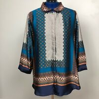 Antilia Femme Women Size 1X Multicolor 3/4 Sleeve Button Down
