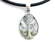 Tree Of Life Pewter Tribal Charm Pendant Amulet & Pvc Choker Necklace Pagan