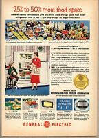 1951 Print Ad GE General Electric Refrigerators More Food Space