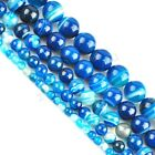 Blue Striped Agate Gemstone Round Loose Spacer Beads 16''Strand 4 6 8 10 12mm