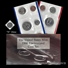 1996 P+D U.S. Mint Set ~ Kennedy Washington Roosevelt Jefferson Lincoln + W Dime