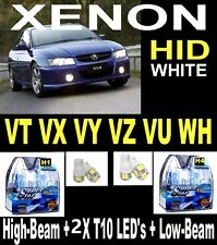 H1 & H4 + FREE LEDs Crystal White Light Bulbs Commodore VT VX VY VZ VU WH + LEDS