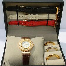 FASHION Uhr NEU Damenuhr mit  4  Bändern und 4 Lünetten wechselbar in Box Strass