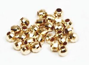 5 pcs 14k solid yellow gold 2-3 mm round MIRROR facet  beads / loose