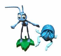 Vintage A Bug's Life Die Cast Dim Beetle & PVC Flik Figure Cake Toppers
