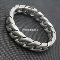"""Heavy Biker Mens Black Stainless Steel Wrist Chain Bracelet Bangle 8.26/"""" 22.5mm"""