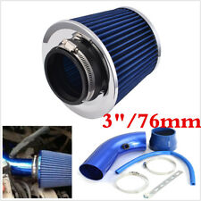 Blue 3inch 76mm Car Air Intake Kit Racing High Flow Alumimum Pipe+Filter+Clamps