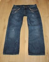 Blue Denim CALVIN KLEIN Zip Low Rise Distressed Straight Leg Jeans W 30 L 26