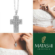 """16"""" 18K White Gold Plated Necklace w/ Cross Design & Clear Crystals by Matashi"""