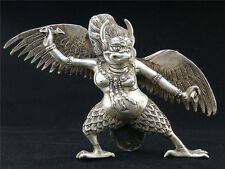 Collectible Decorated Old Handwork Tibet Silver Carved Son of Thor God Statue