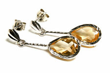 9ct White Gold Citrine Dangly Teardrop earrings Gift Boxed Made in UK