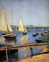 Gustave Caillebotte Sailing Boats at Argentueil Fine Art Print on Canvas Repro