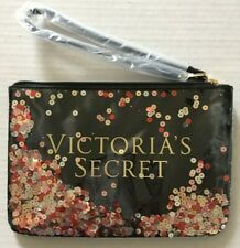 NWOT Victoria's Secret Cosmetic Bag Black Imitation Leather Wristlet Sequin 9*6""