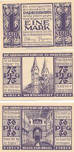 Notgeldscheine  der Stadt Paderborn 1921