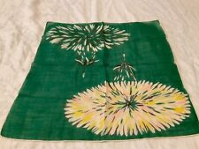 Vintage Hanky Handkerchief Hankie women's ladies green floral flower yellow pink