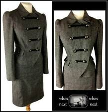 05 F&F 8 10  vintage Military style grey tweed wool skirt suit ladies womans