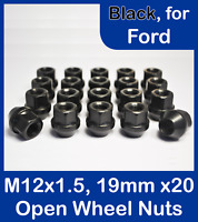 20 x Open Alloy/Steel Wheel Nuts for Ford M12 x 1.5, 19mm Hex