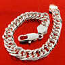 Bracelet Bangle Genuine Real 925 Sterling Silver Sf Men's Heavy Double Curb Link