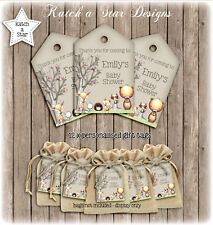 WOODLAND ANIMALS BABY SHOWER PARTY PERSONALISED THANK YOU TAGS X 12