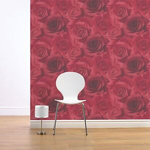MURIVA MADISON RED ROSE FLORAL WALLPAPER (119502) NEW
