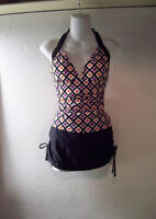 Tropical Escape Tankini Swimsuit Top L & NEW Island Waves Skirted Bottom size 14