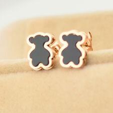 14K Rose Gold Jewelry 316L Stainless Steel Black Bear Womens Earrings Ear Stud