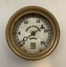 Antique Ashcroft General Electric Co. Bearings New York USA 25 LBS. Brass Gauge