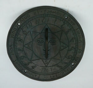 """ANTIQUE 19thC. BRASS SUNDIAL -""""Let Others Tell of Storms and Showers"""""""