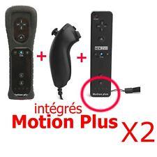 2X 2n1 Manette Wiimote Nunchuk intégré Motion Plus pou Nintendo Wii Noir