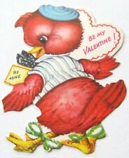 Vintage Valentine Red Bird in Hat with Green Strings Tied on Feet