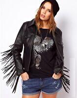 Womens Black Leather Motorcycle Jacket Medium 100% Lambskin Fringes Jacket - 195
