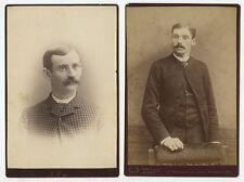 SET OF 2 CAB PHOTOS/PORTRAITS MEN W/ MUSTACHES, MINNEAPOLIS, MN   LOCKPORT, NY
