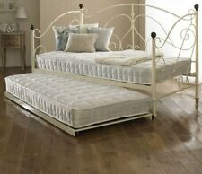 New Milano Metal Day Bed With Trundle Ivory Sprung Slats Base Cheapest On eBay!!
