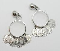 Vintage Silver Tone Coin Dangle Earrings