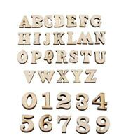 100 pcs Wooden Numbers Alphabet Wooden Embellishments Gifts For Kids Crafts Z9Q3