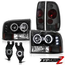01-04 Ford F250 F350 Diesel Smoke Tail Lights CCFL Halo Headlights Projector Fog