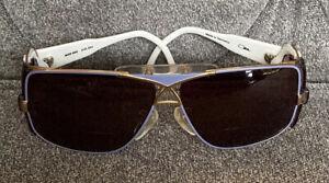 CAZAL 955 AUTHENTIC VINTAGE 1980S WHITE/GOLD FR LAVENDER SUNGLASSES W/CASE READ