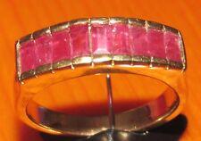 Secondhand 9ct Oro Amarillo Corte Baguette rubí y diamante tamaño de banda N