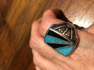 Vintage Southwestern Black Turquoise Mens Ring Inlay Silver White Bronze 11