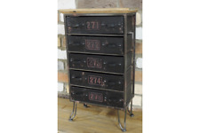 INDUSTRIAL BLACK METAL STORAGE DRAWERS CABINET (DX5129)