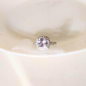 QVC Diamonique Epiphany Platinum Clad Cushion Cut Halo Ring Size 8 - Never Worn