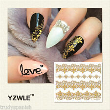 3D Nail Art Stickers Decals Tranfers Metallic Gold Lace Flowers Gel Polish 6015