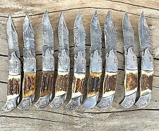"""*New*Beautiful Handmade Damascus steel(Lot Of 9 Folding Knives)""""Limited Edition"""""""