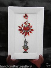 "7""x10"" Marble Tray Plate Carnelian lotus Floral Mosaic Inlay Handmade Decor H548"