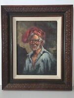 Original Oil Painting Old Man Portrait w/Wooden Frame, Signed by Artist