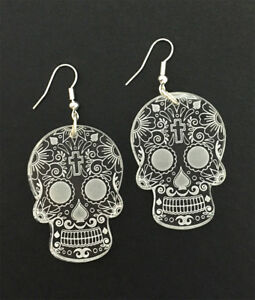 Sugar Skull Earrings Laser Engraved Clear Acrylic Laser Cut Skull Gift Ideas