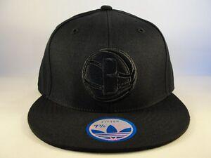 Brooklyn Nets NBA Adidas Fitted Hat Cap Size 7 3/8 Black