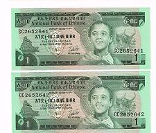 2 CONSECUTIVE ETHIOPIA 1976 1 BIRR NOTES LONGHORNS TITISAT WATERFALLS UNC P.30b