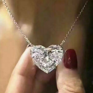 Gorgeous 925 Silver White Sapphire Chain Crystal Pendant Necklace Jewelry Hot