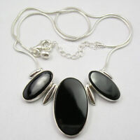 925 Sterling Silver Natural Black Onyx 30.0 tcw Necklace New Wedding Jewelry